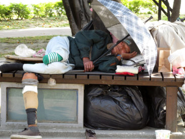 Kaohsiung - Local sleeping near the Lotus Lake