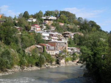 Kutaisi - Houses over Rioni River