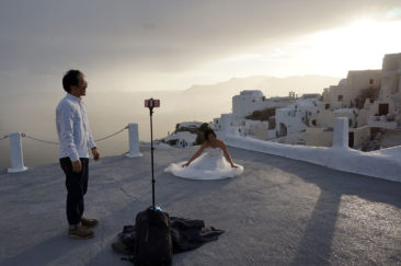 Santorini is perfect for wedding photos