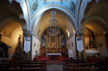 Inside the Catholic cathedral