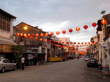 Street in george Town in the evening