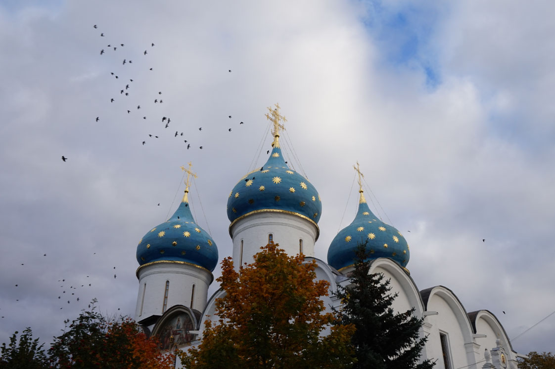 Birds over Assumption Cathedral in Sergiev Posad