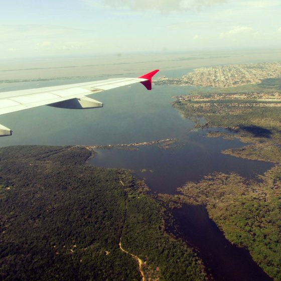 Flying over the Amazon river