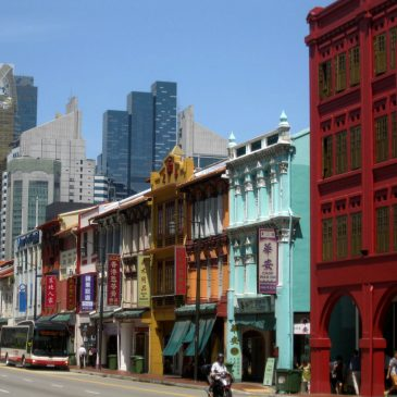 Colorful facades of Upper Cross Street