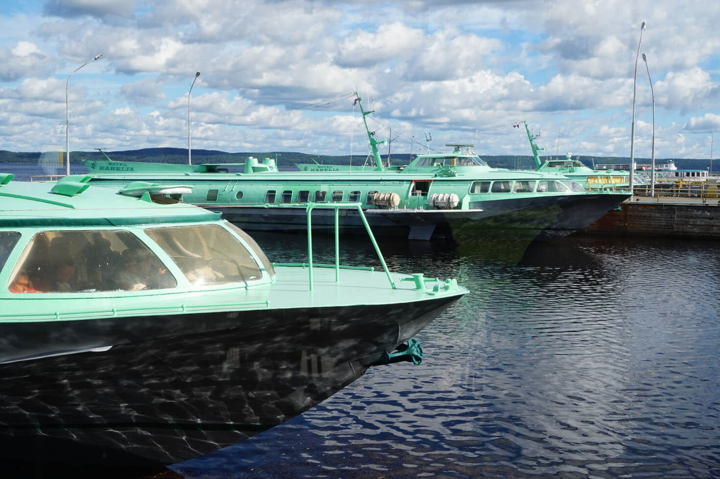 Speed boats to the island of Kizhi