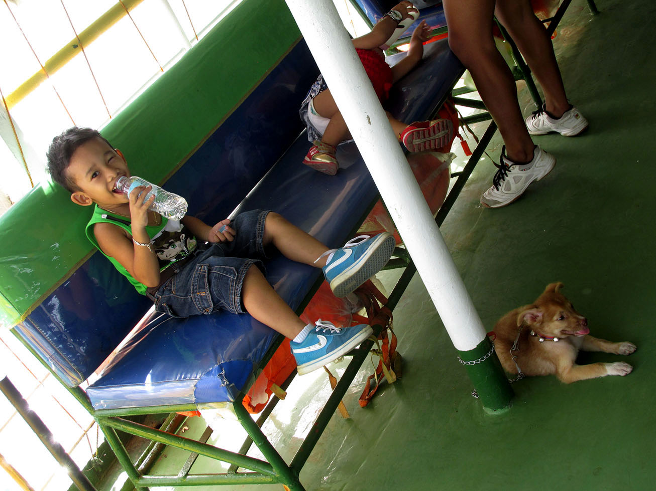 Kid posing on the ferry
