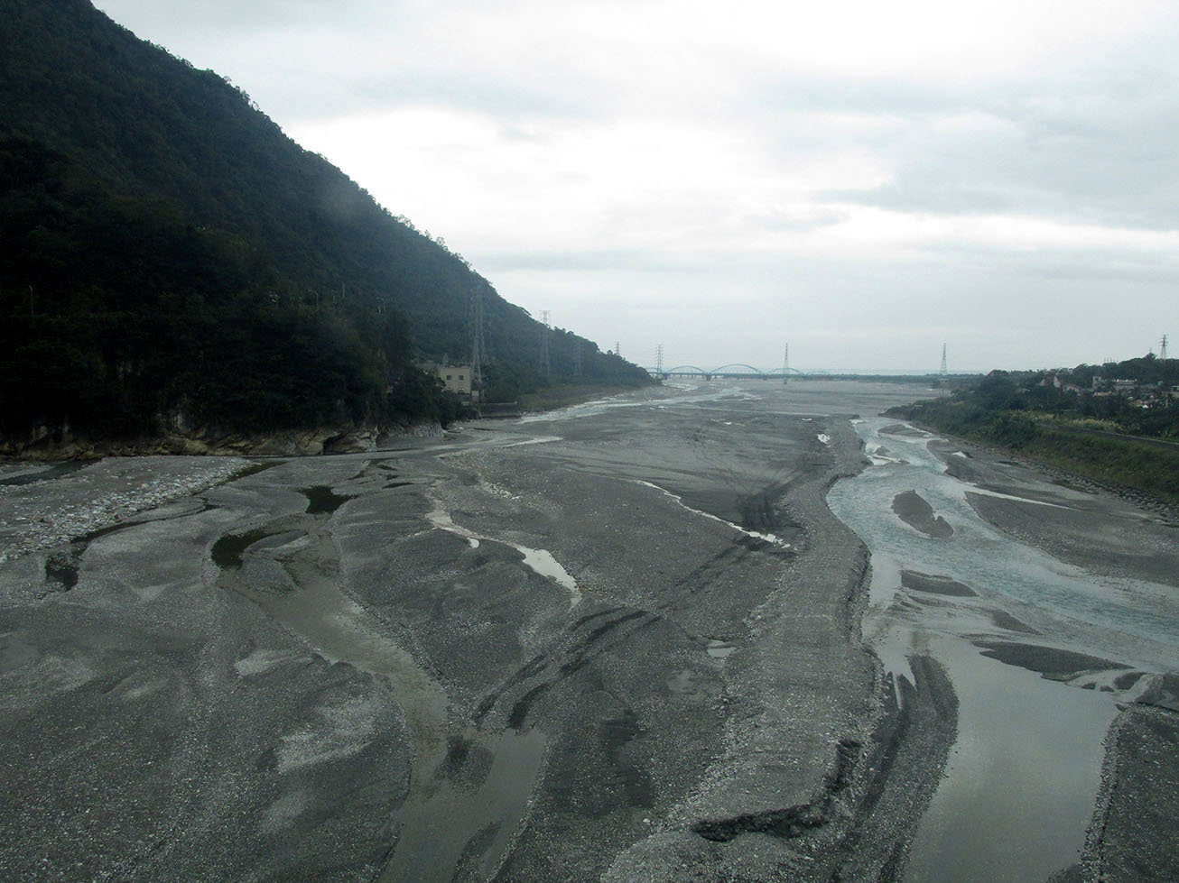 River flowing to the sea near Hualien