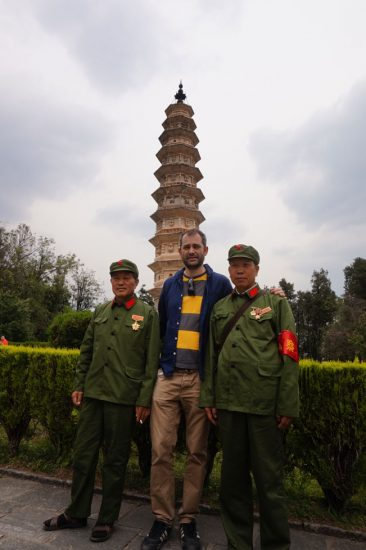 Posing in front of the Three Pagodas